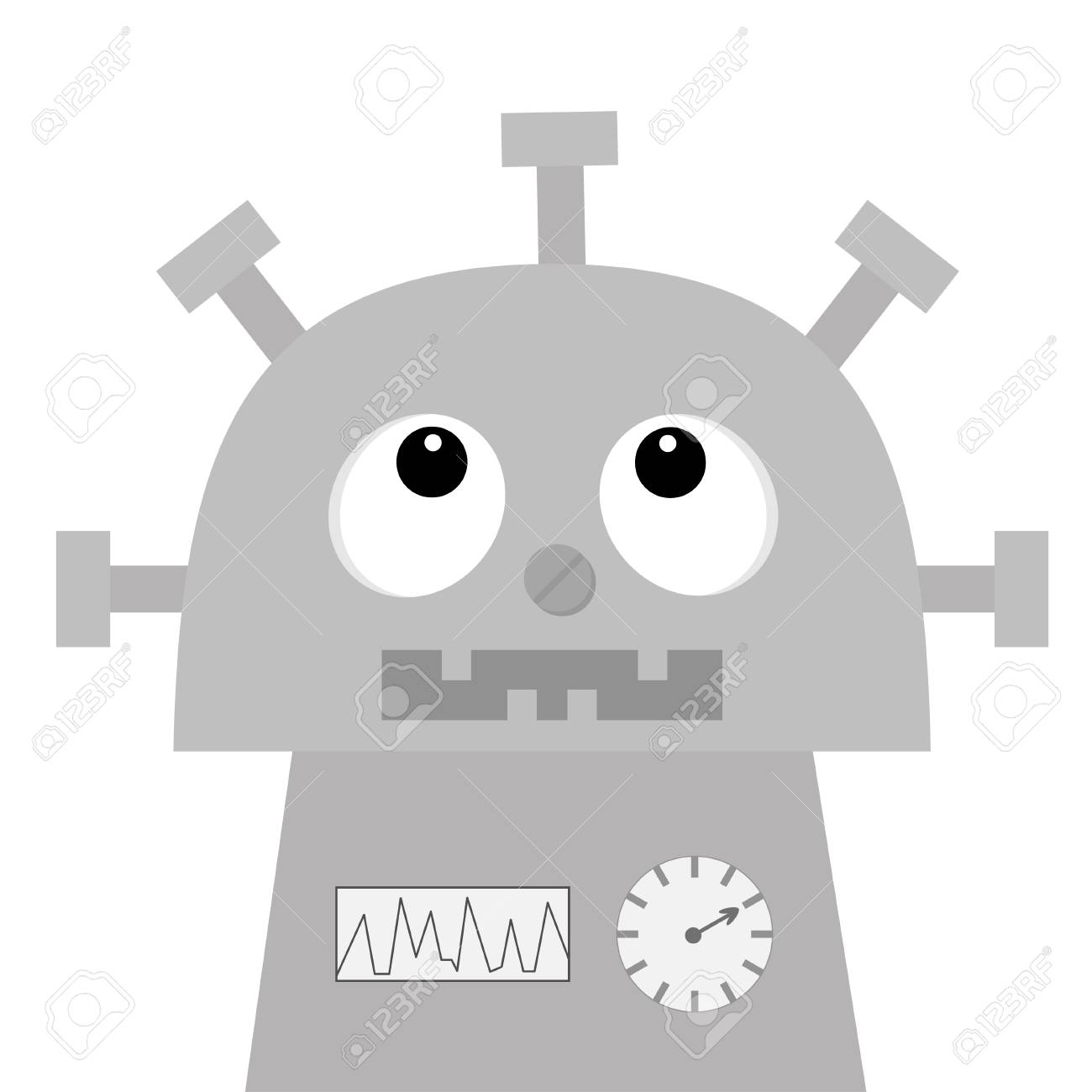 87835633 robot looking up screw nose clock heart diagram open mouth with tooth cute vintage cartoon character robot looking up screw nose, clock heart, diagram, open mouth