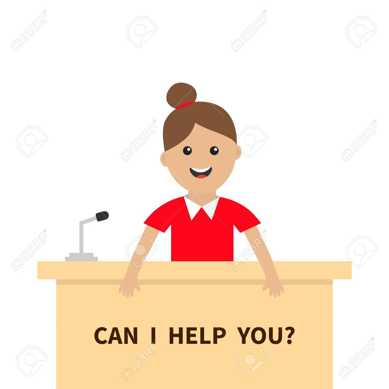 A Girl Consultant Cute Cartoon Character Stock Vector