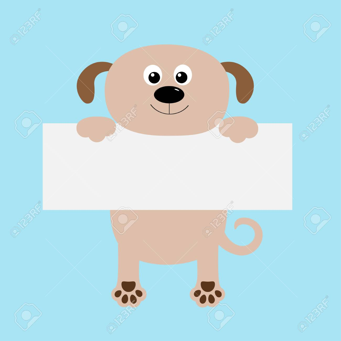 funny dog hanging on paper board template big eyes kawaii puppy