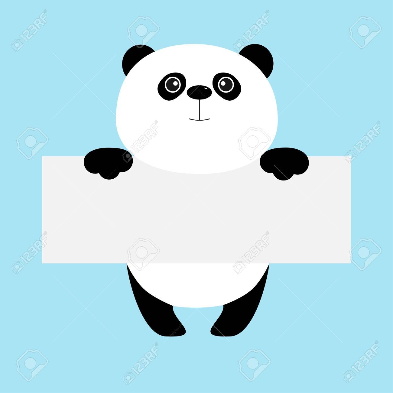 Ours Panda Drole Accroche Sur Le Modele De Carton Kawaii Corps Des