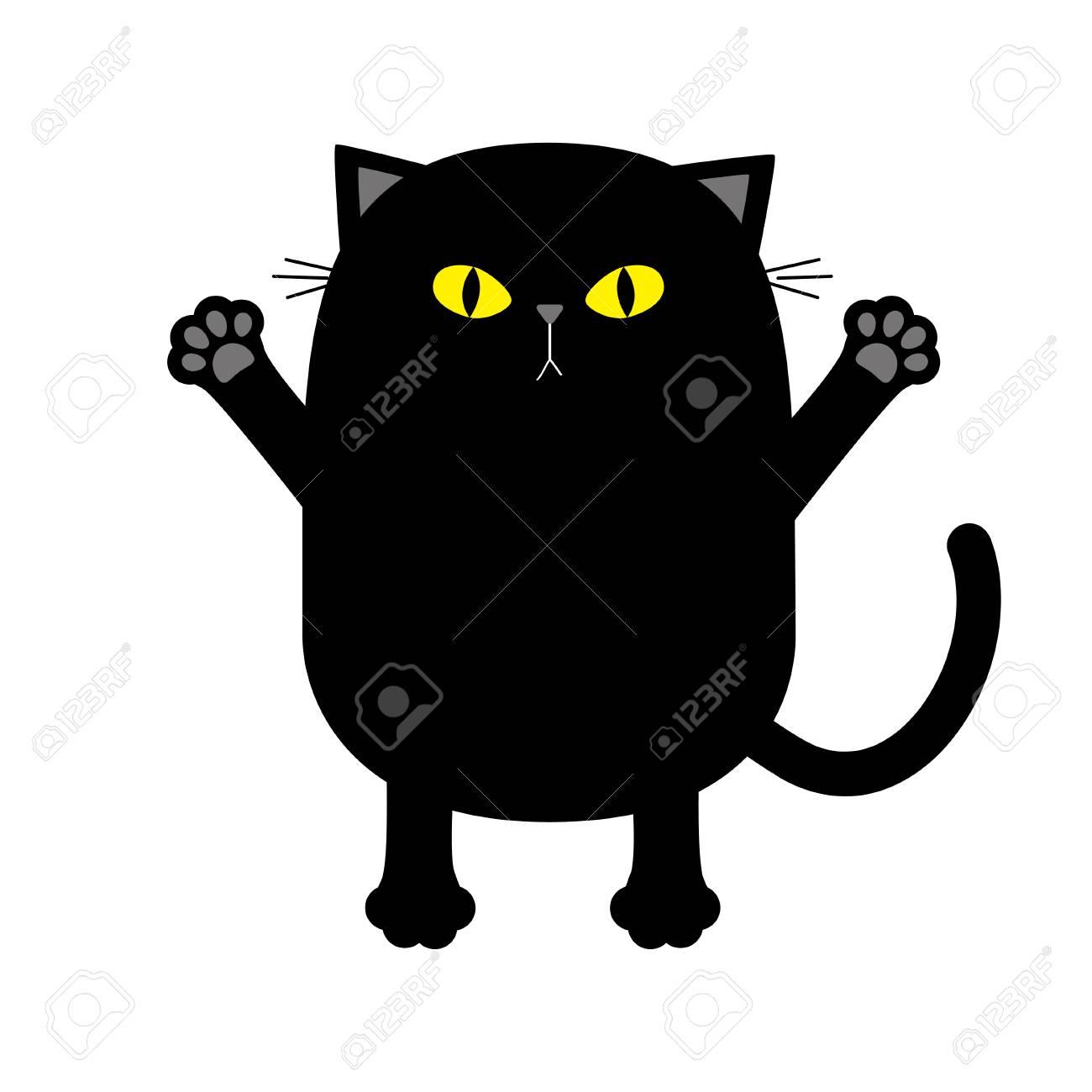 Les Yeux Jaunes De Chat Noir Pret Pour Un Etreindre Patte De Main