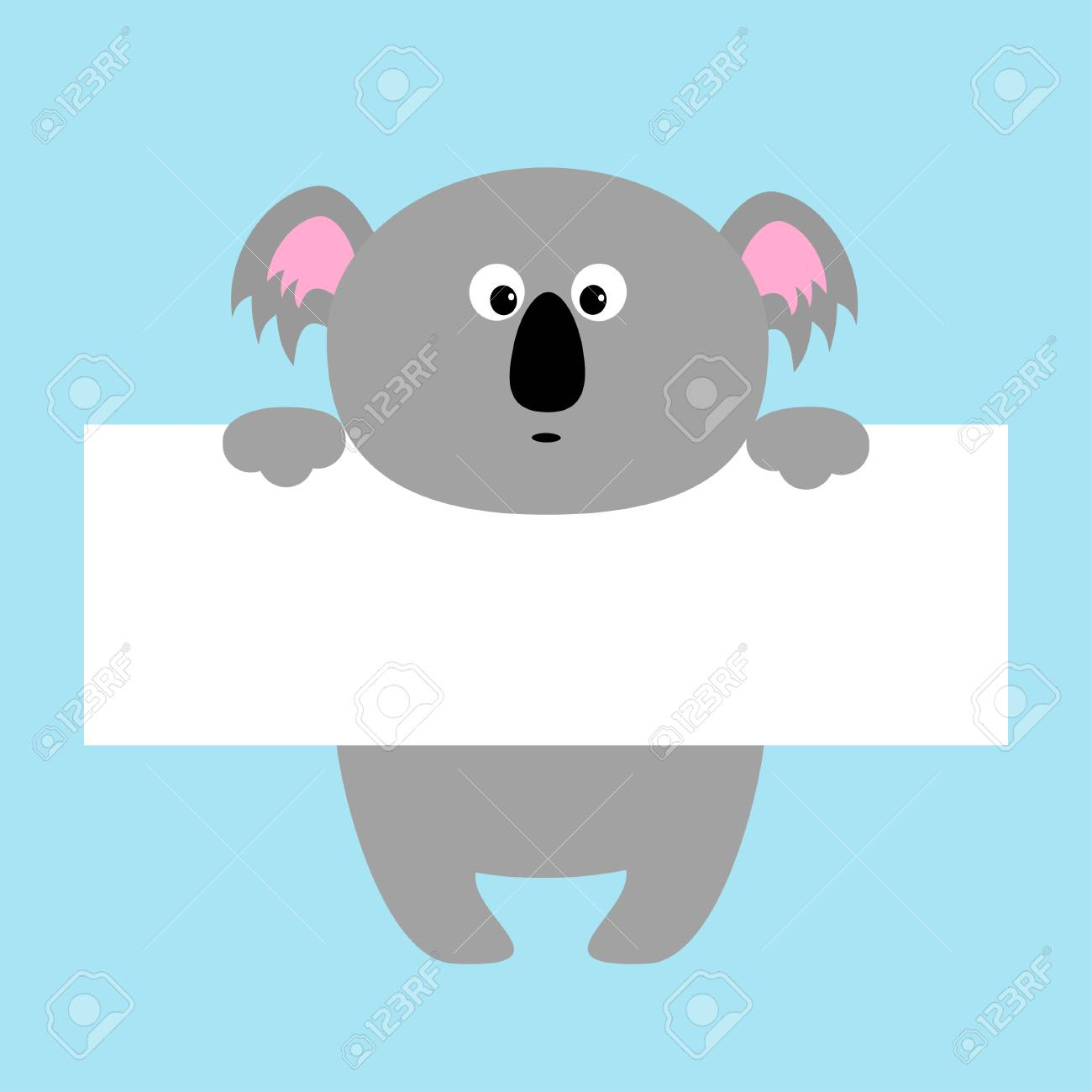 funny koala hanging on paper board template cute cartoon character