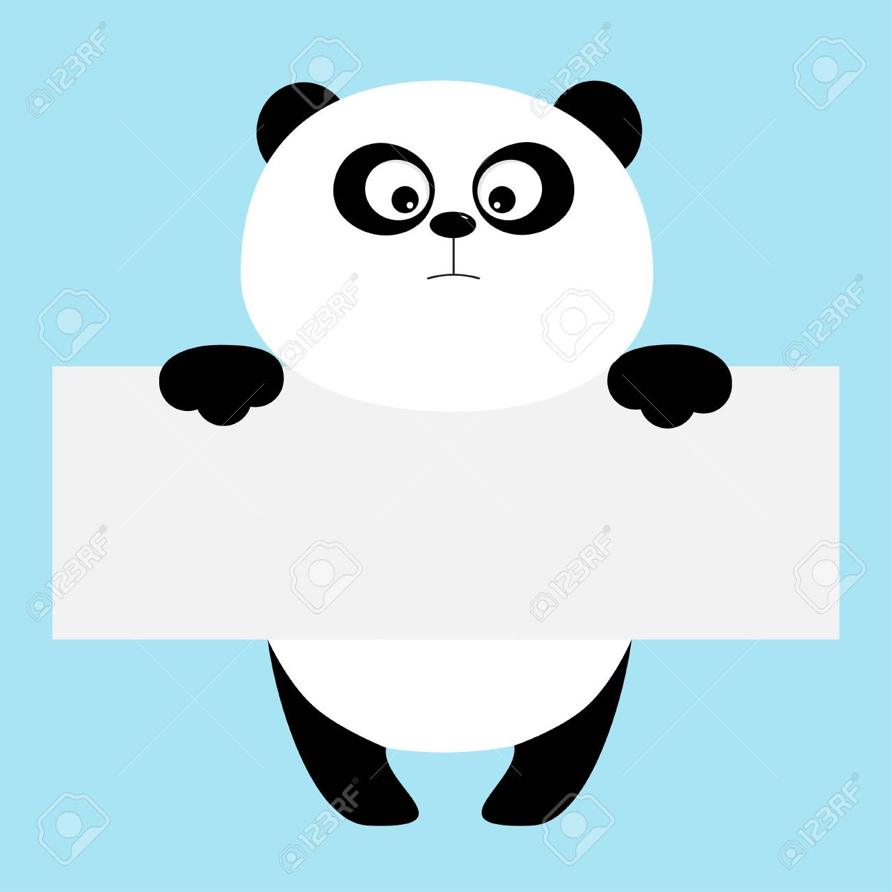 funny panda bear hanging on paper board template royalty free