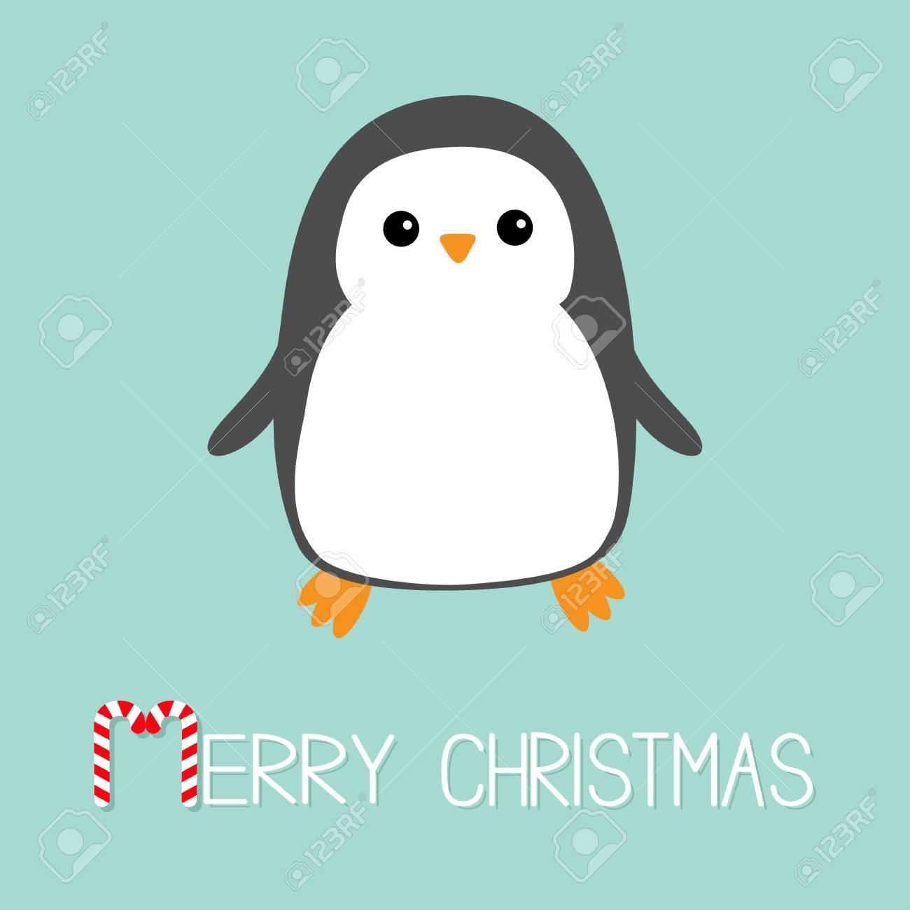 Joyeux Noël Candy Cane Texte Icône D Oiseau Kawaii Pingouin Personnage De Bébé Dessin Animé Mignon Design Plat Fond Antarctique D Hiver Bleu Carte
