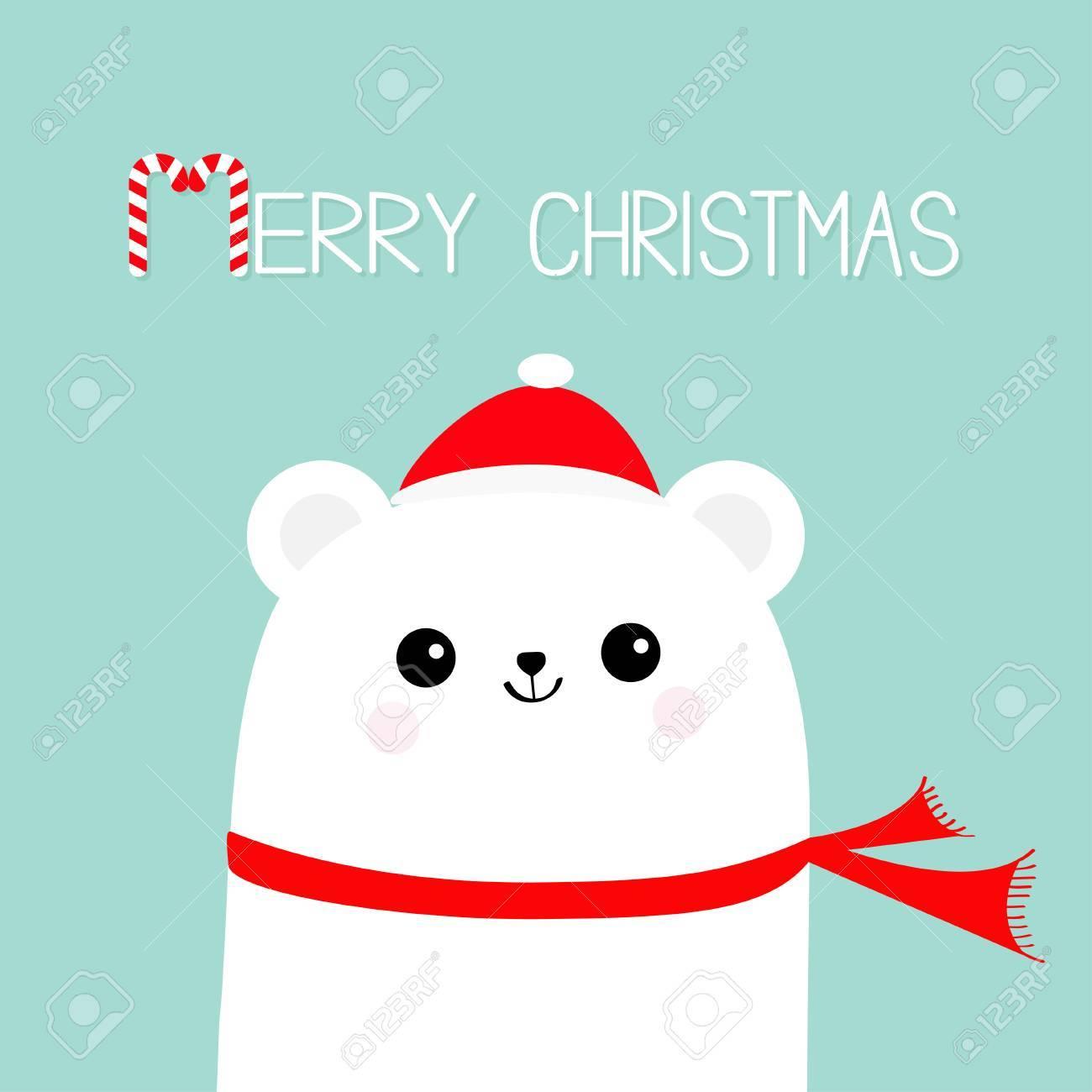 Joyeux Noel Candy Cane Visage De Tete D Ours Blanc Polaire Portant