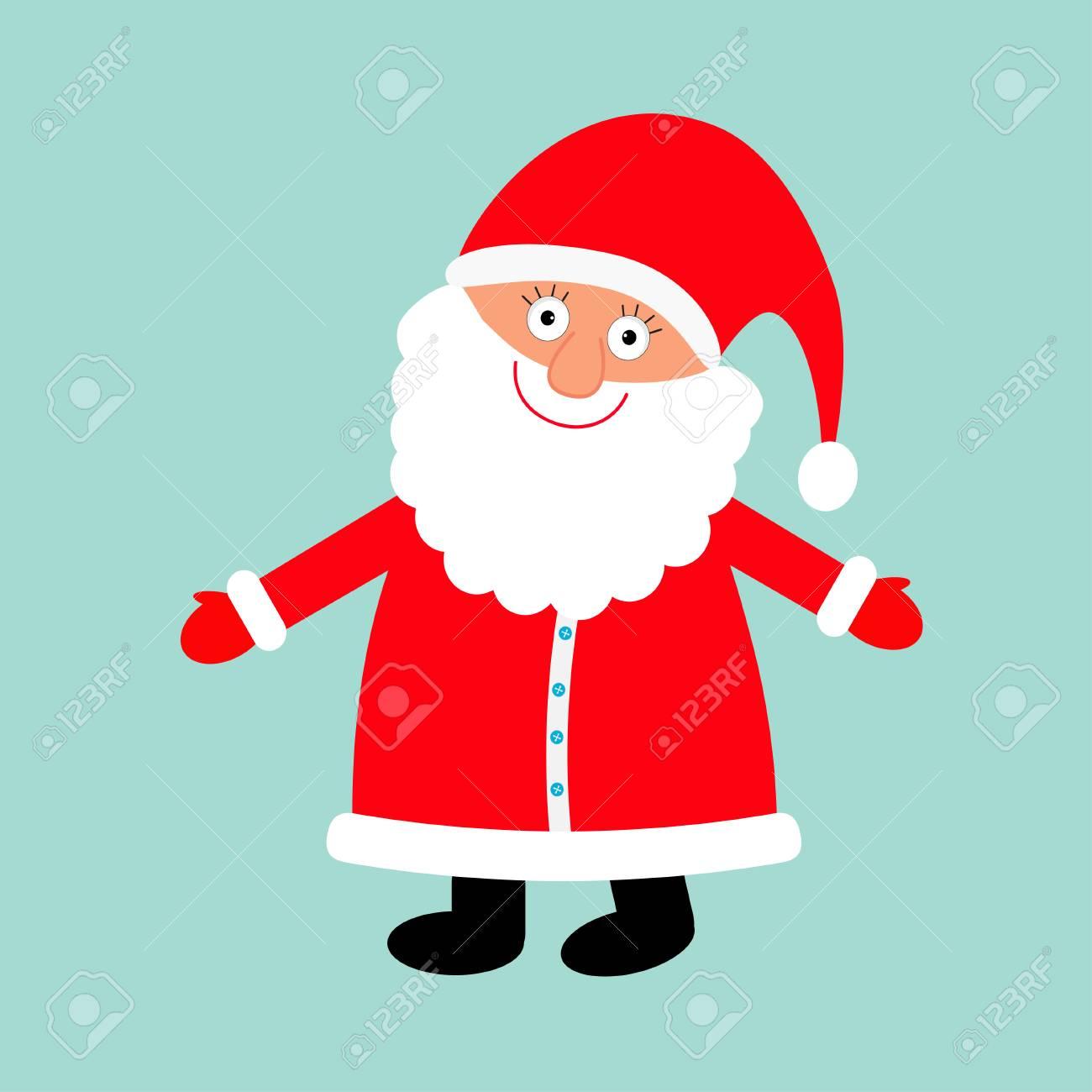 Père Noël Portant Chapeau Rouge Costume Grande Barbe Personnage Drôle De Dessin Animé Mignon Avec Main Ouverte Joyeux Noël Fond Bleu Isolé Carte