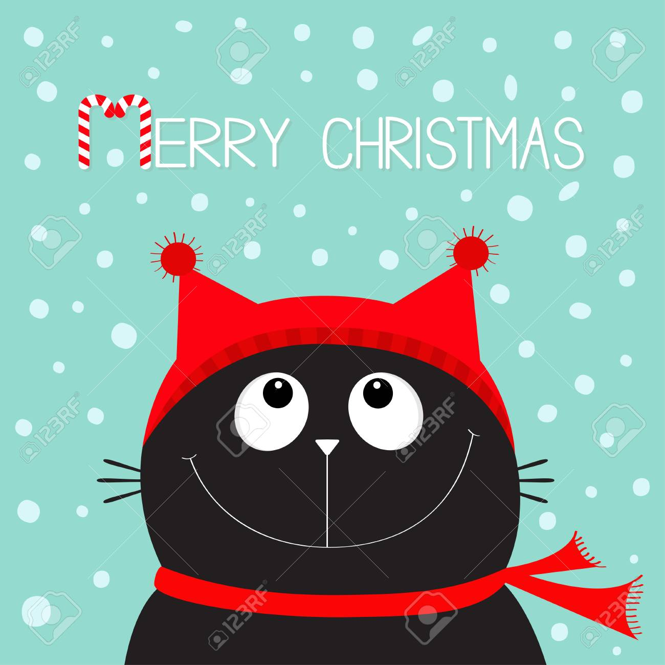 Merry Christmas candy cane text. Black Cat kitten head face looking..