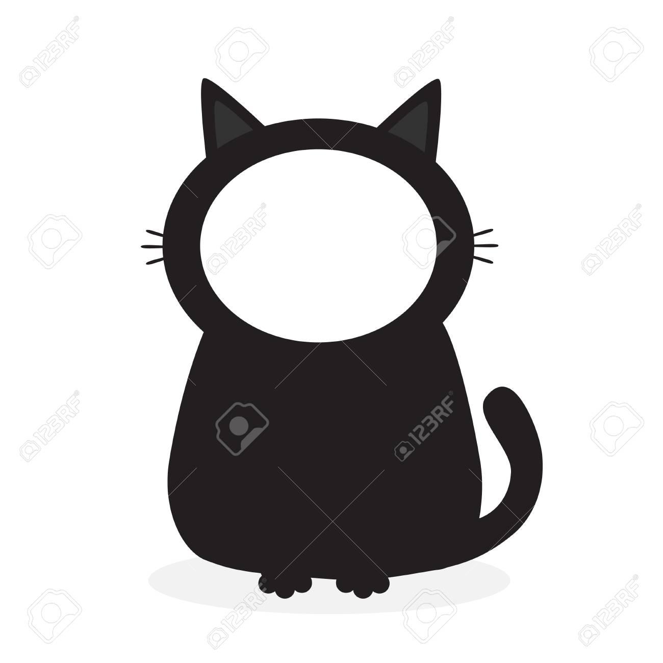 Black Kitten Cat Face Frame Template For Photo Pictute Cute