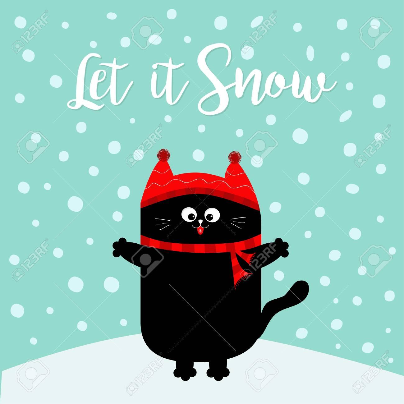 Let it snow. Black Cat kitten. Red hat, scarf. Cute funny cartoon..