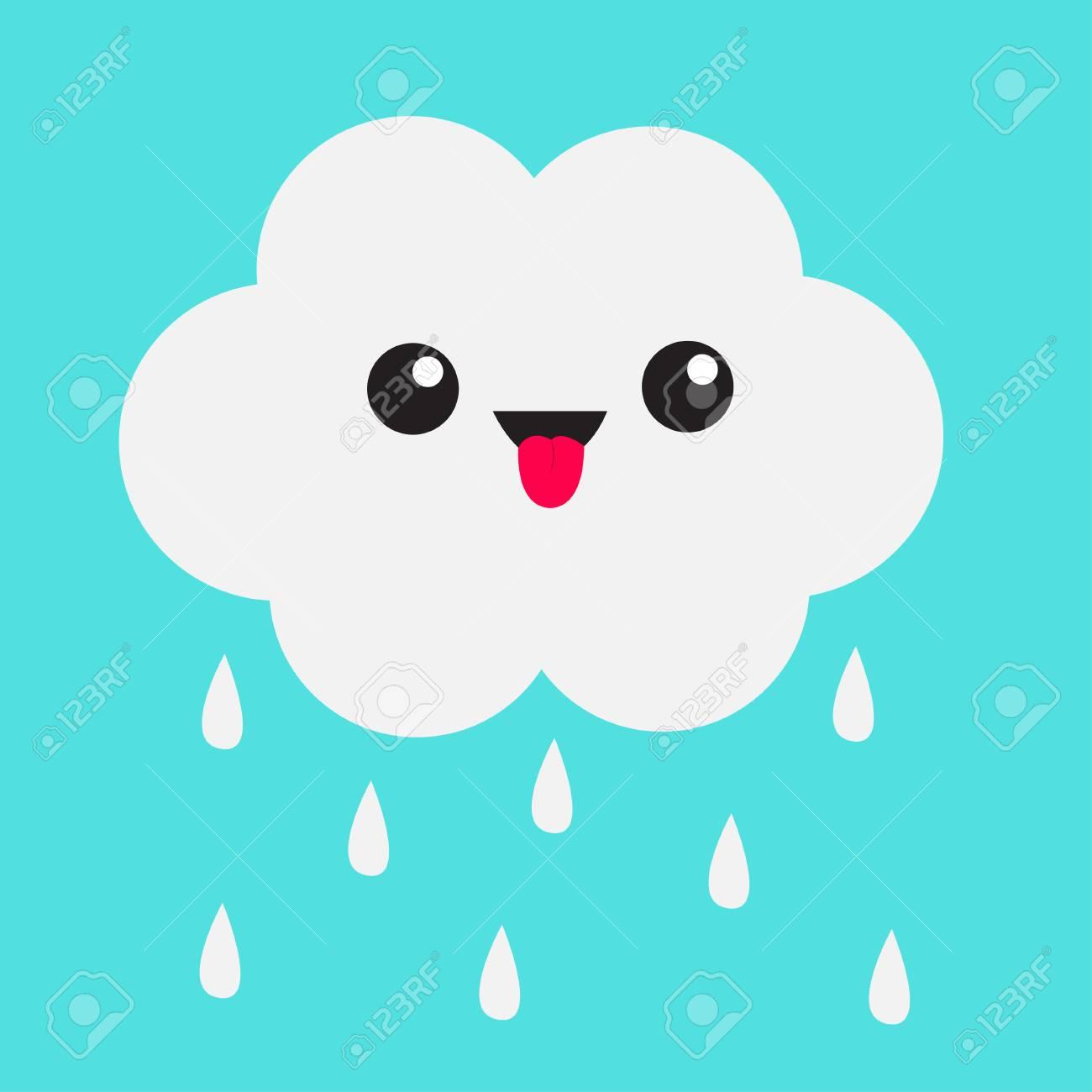 Nuvem Bonito Do Kawaii Dos Desenhos Animados Com Gotas Da Chuva. Mostrando  Emoção De Língua. Olhos E Boca. Isolado. Fundo Do Céu Azul. Coleção De  Emoji De Personagem Engraçada De Bebê. Design