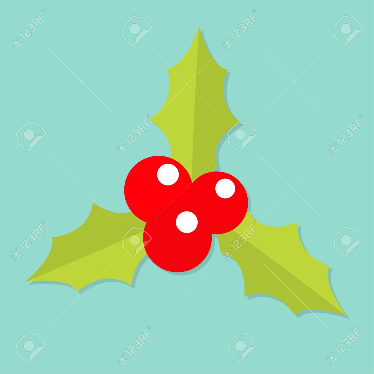 Holly Berry Icon Mistletoe Green Leaf Three Red Berries Merry