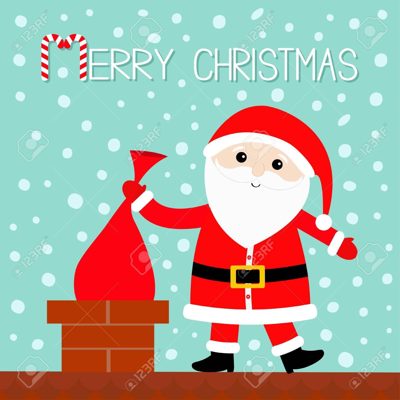 Père Noël Sur Le Toit Mettant Sac Cadeau Dans La Cheminée Chapeau