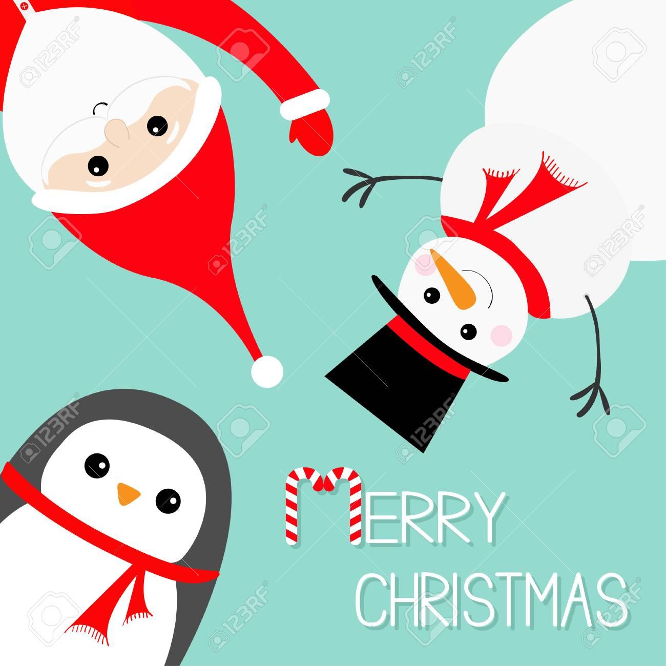 Suspendu à L Envers Du Père Noël Penguin Penguin Portant Chapeau