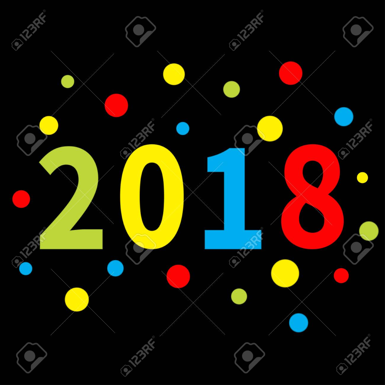 2018 new year colorful round dot template for greeting card calendar presentation