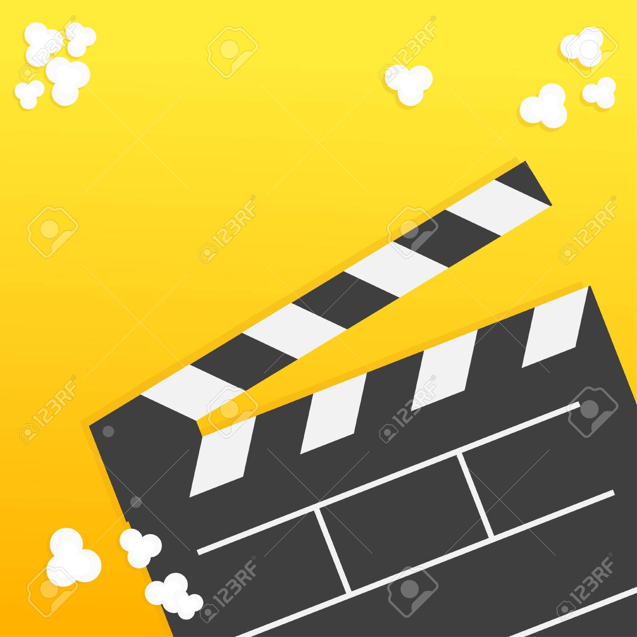 Popcorn  Open clapper board from top down perspective  Air view