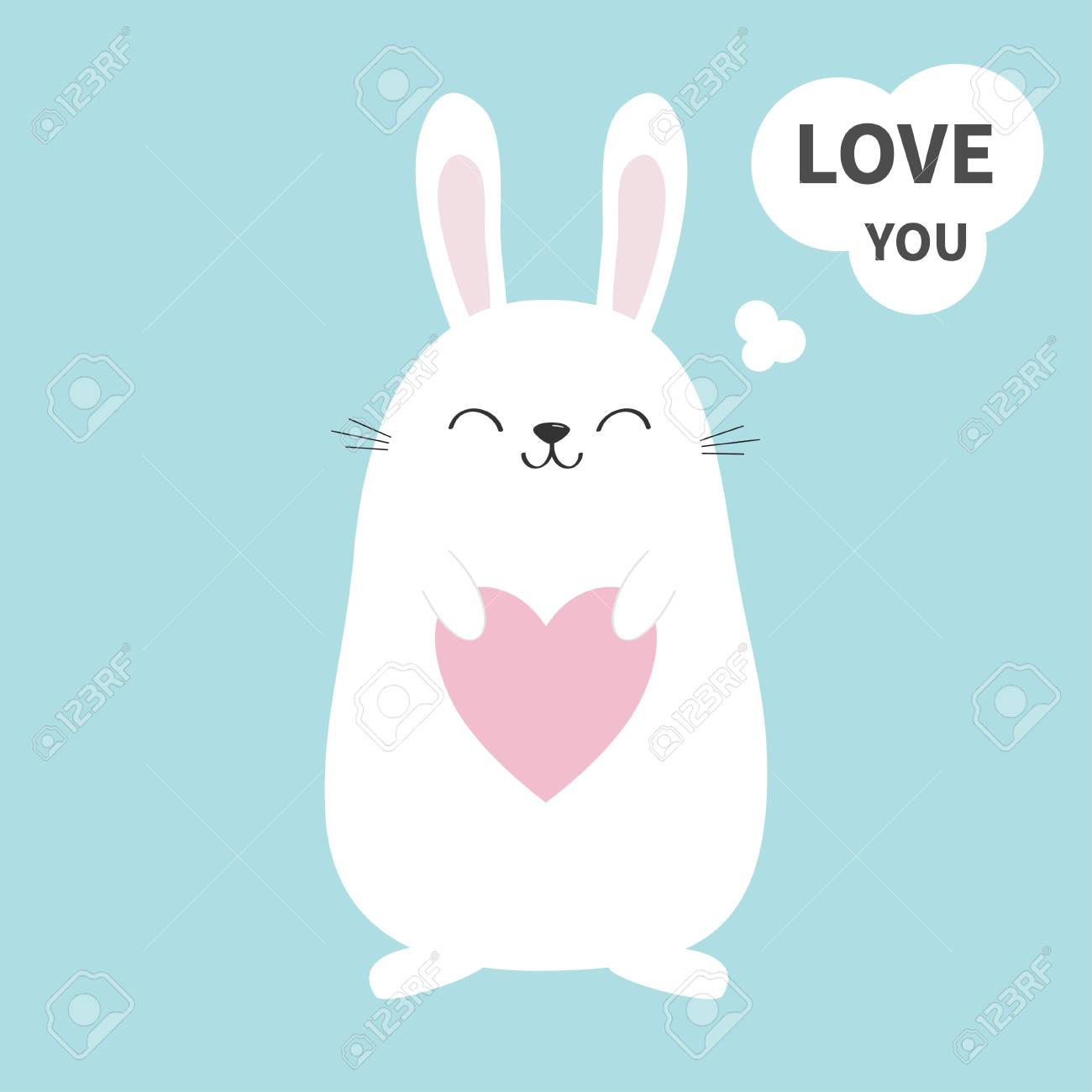 White Bunny Rabbit Holding Heart Talking Thinking Bubble Love