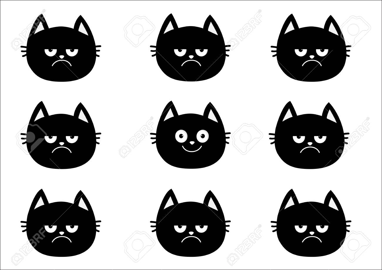 Cute Black Cat Set Emotion Collection Happy Smiling And Sad