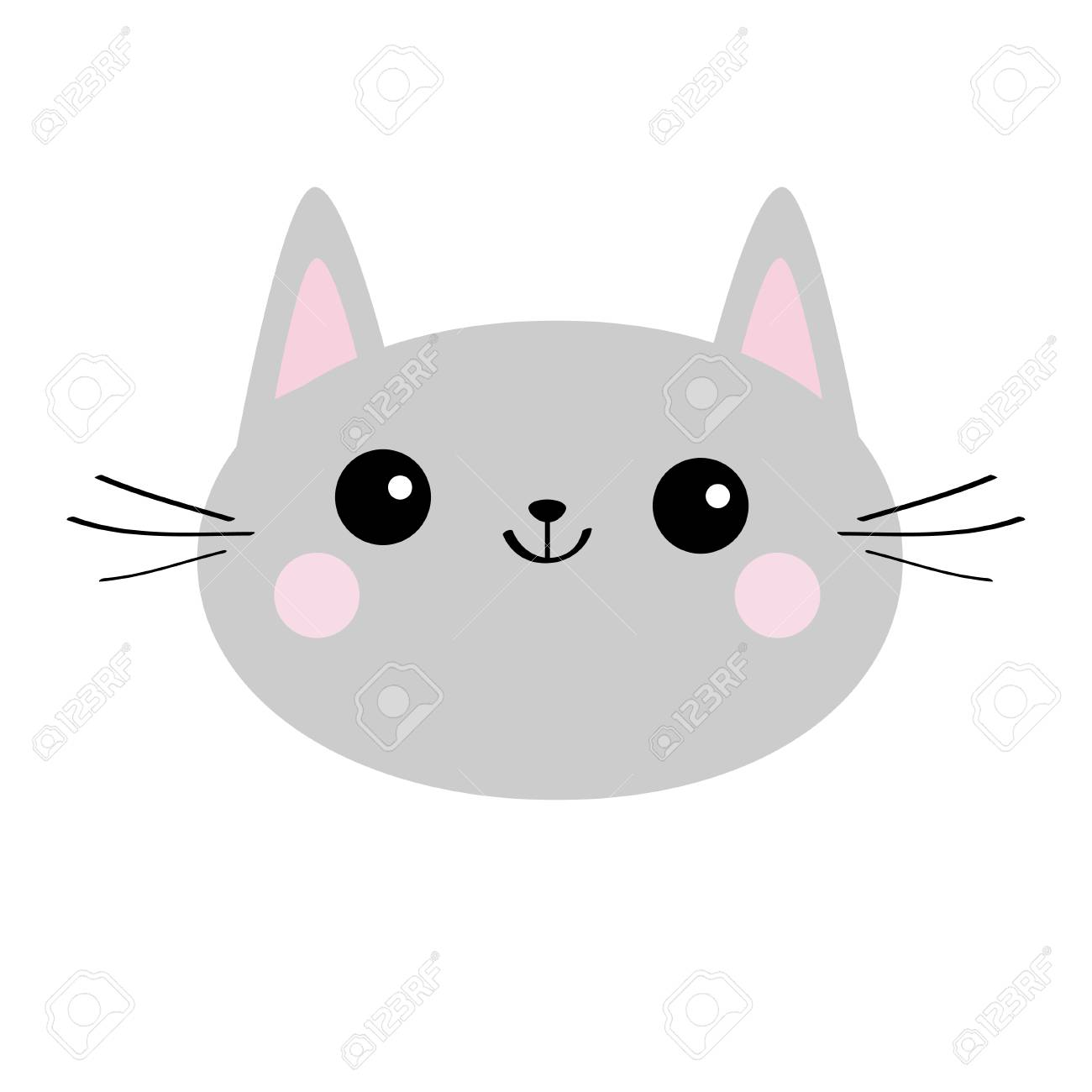 Gray Cat Head Face Silhouette Icon Cute Cartoon Kitty Character Royalty Free Cliparts Vectors And Stock Illustration Image 103004728