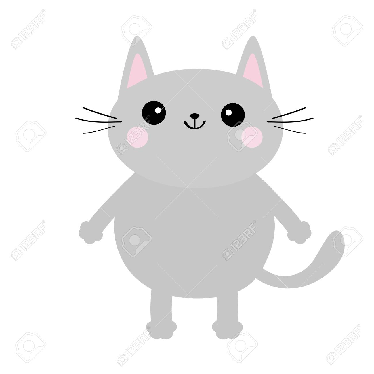 Gray Cat Face Silhouette Cute Cartoon Kitty Character Kawaii Royalty Free Cliparts Vectors And Stock Illustration Image 103112855