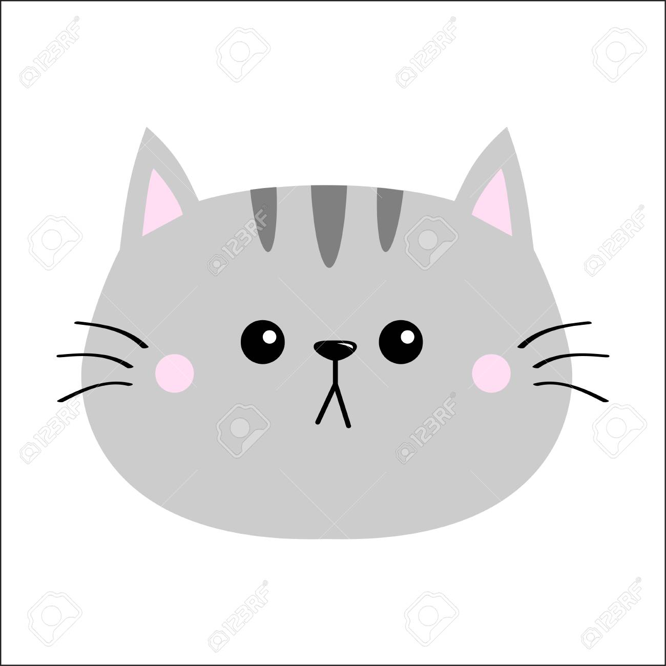 Gray Cat Sad Head Face Silhouette Icon Cute Cartoon Kitty