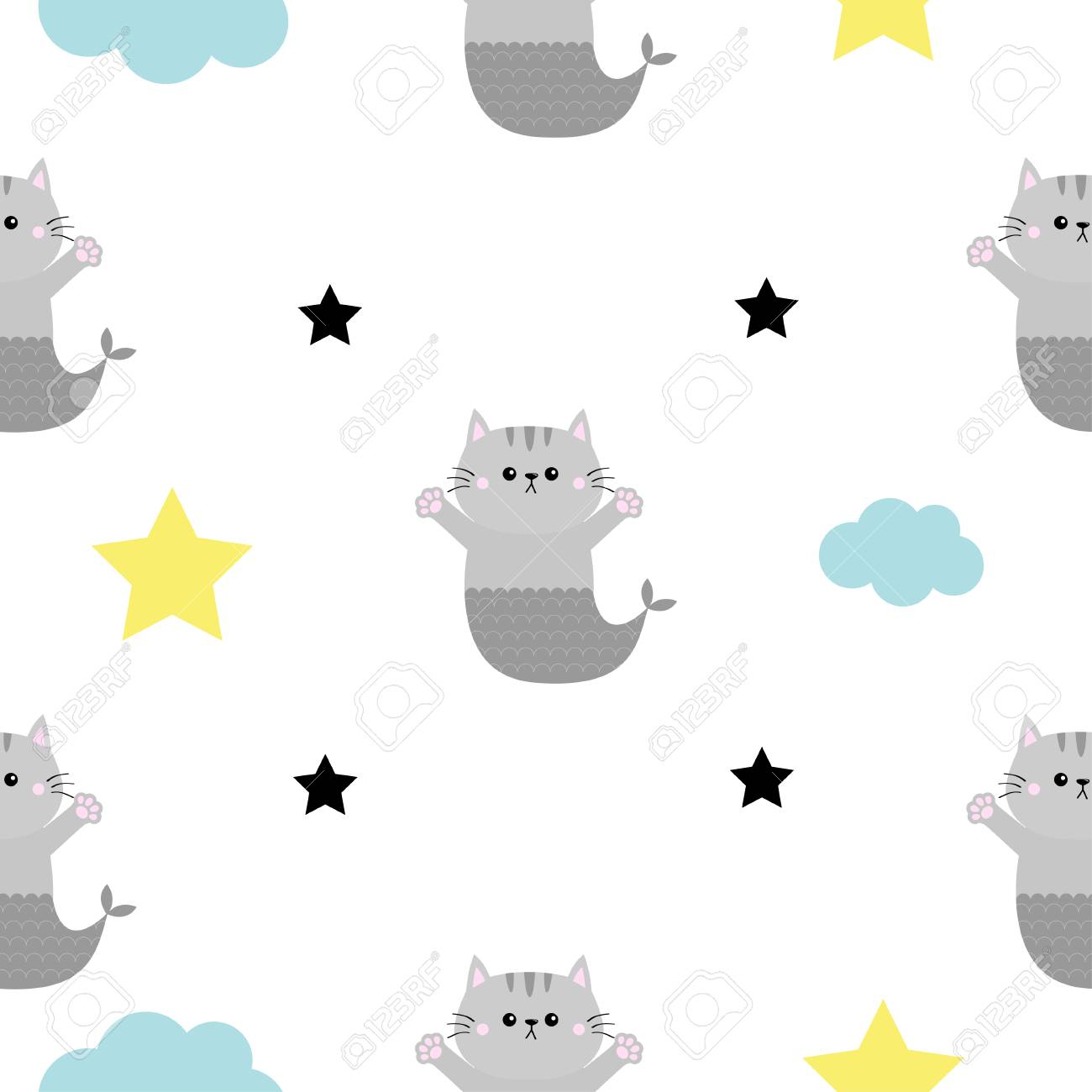 Cat Mermaid Fish Tail Head Hands Cloud Star Shape Cute Cartoon