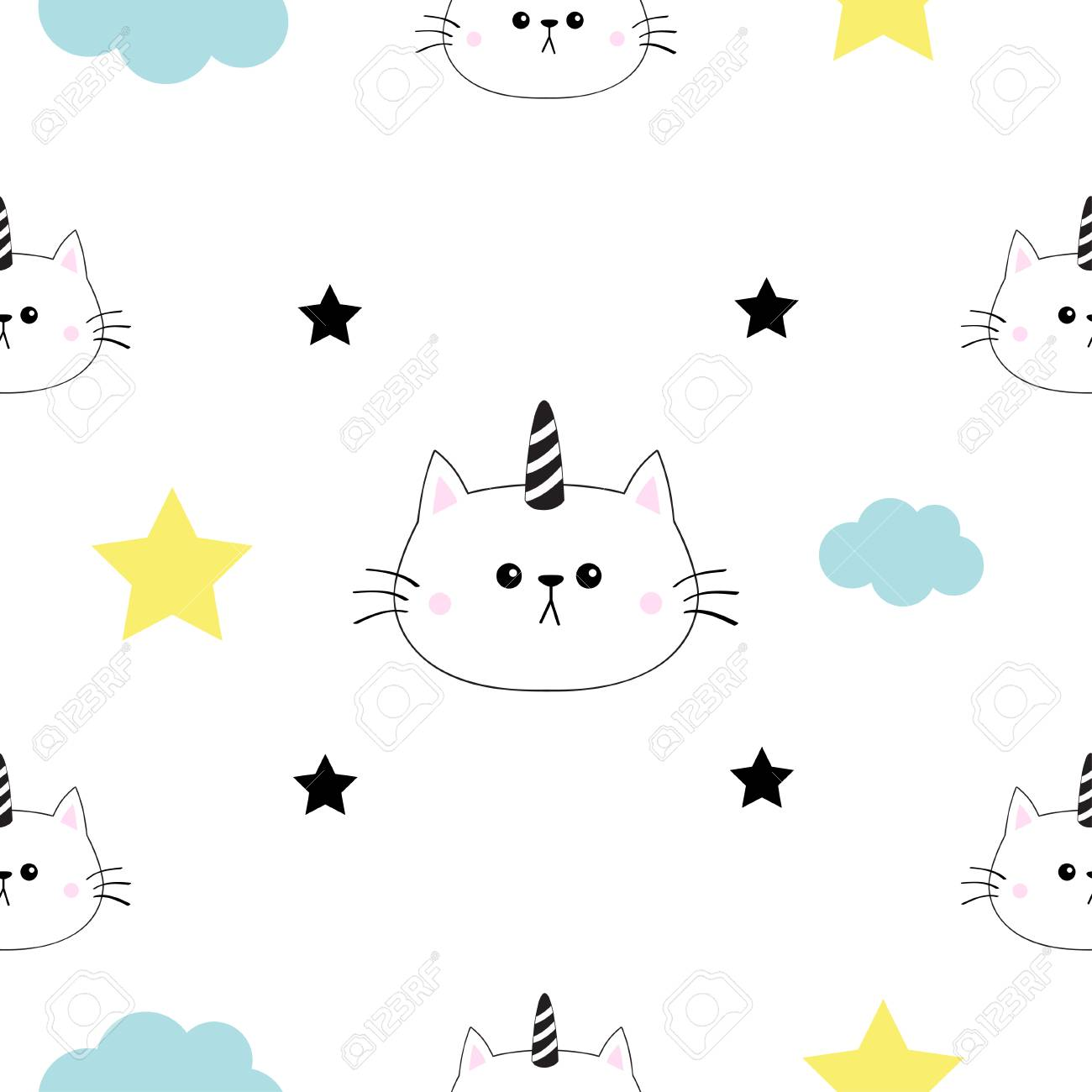 Cat Unicorn Horn Head Hands Cloud Star Shape Cute Cartoon