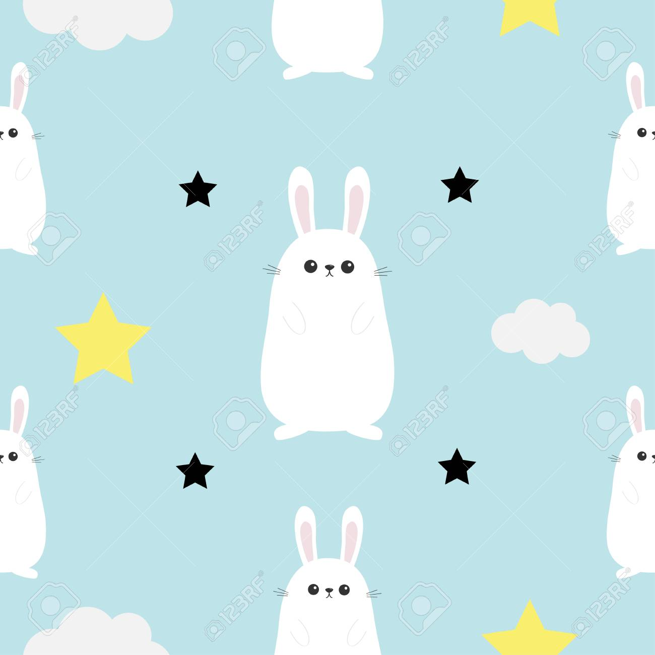 Rabbit Hare Head Hands Cloud Star Shape Cute Cartoon Kawaii