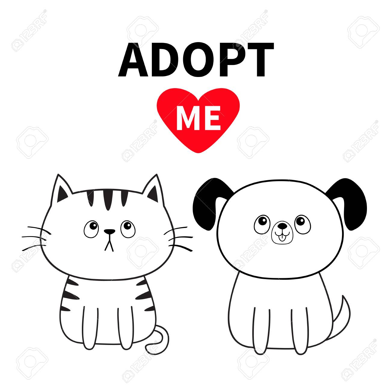 Adopt Me Contour Sitting Dog Cat Silhouette Set Red Heart Royalty Free Cliparts Vectors And Stock Illustration Image 111614299