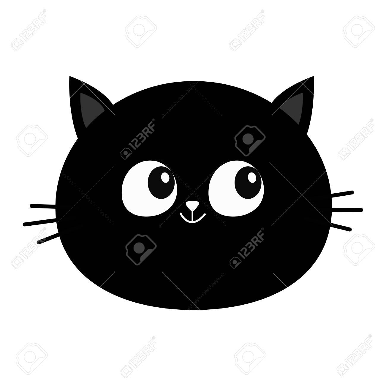Black Cat Head Round Face Icon Cute Cartoon Character Kitty