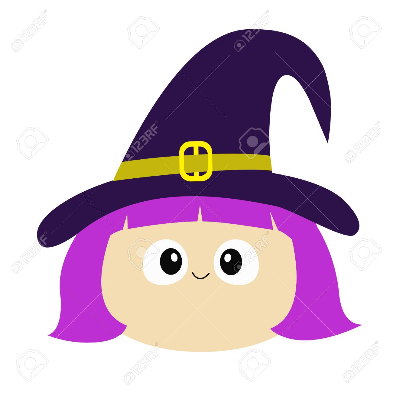 Halloween Cartoon Witch Face.Witch Girl Face Wearing Curl Hat Happy Halloween Cartoon Funny