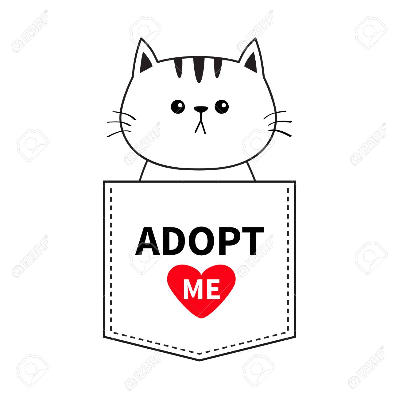 Image of: Clipart Cat Sitting In The Pocket Adopt Me Red Heart Cute Cartoon Animals 123rf Cat Sitting In The Pocket Adopt Me Red Heart Cute Cartoon Animals