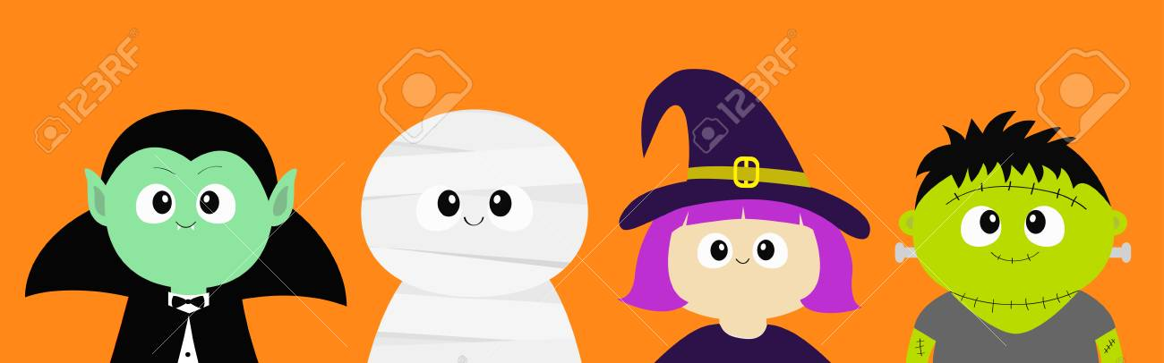 Happy Halloween. Vampire count Dracula, Mummy, whitch hat, zombie round face head body icon set. Cute cartoon funny spooky baby character. Greeting card. Flat design Orange background. Vector - 109719844