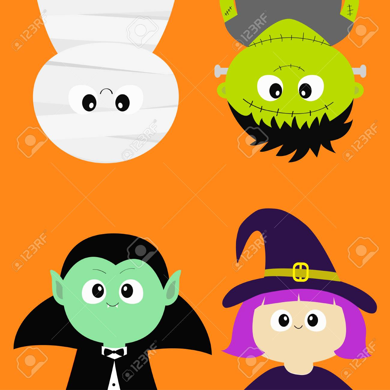 Happy Halloween. Vampire Count Dracula, Mummy, Whitch Hat, Zombie ...