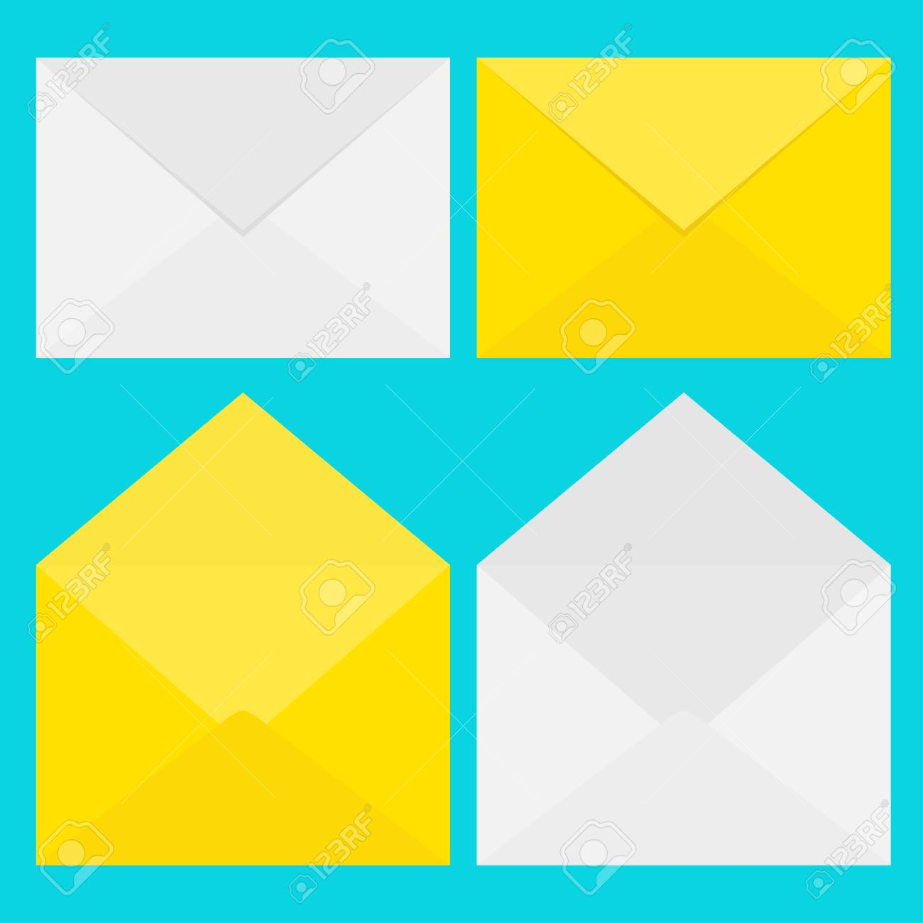 white and yellow paper envelope set letter template new message sign