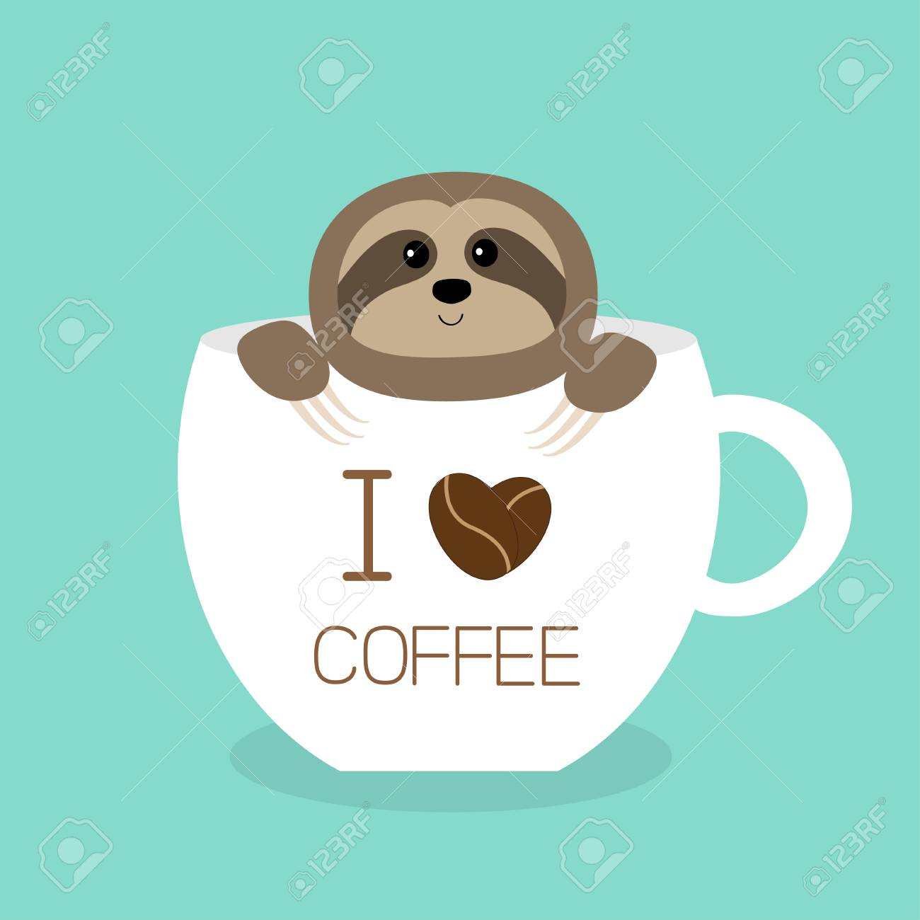 Sloth Sitting In Teacup I Love Coffee Cup Face And Hands Cute Royalty Free Cliparts Vectors And Stock Illustration Image 112305289
