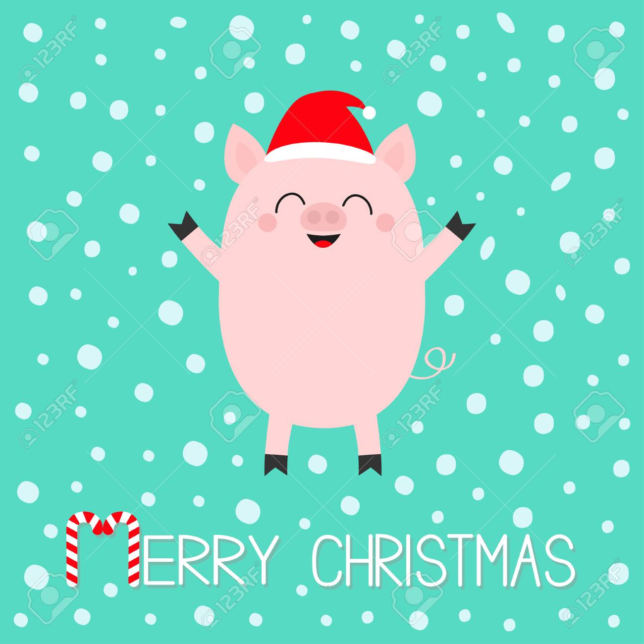 Christmas Pig.Merry Christmas Pig Piglet Cute Cartoon Funny Baby Character
