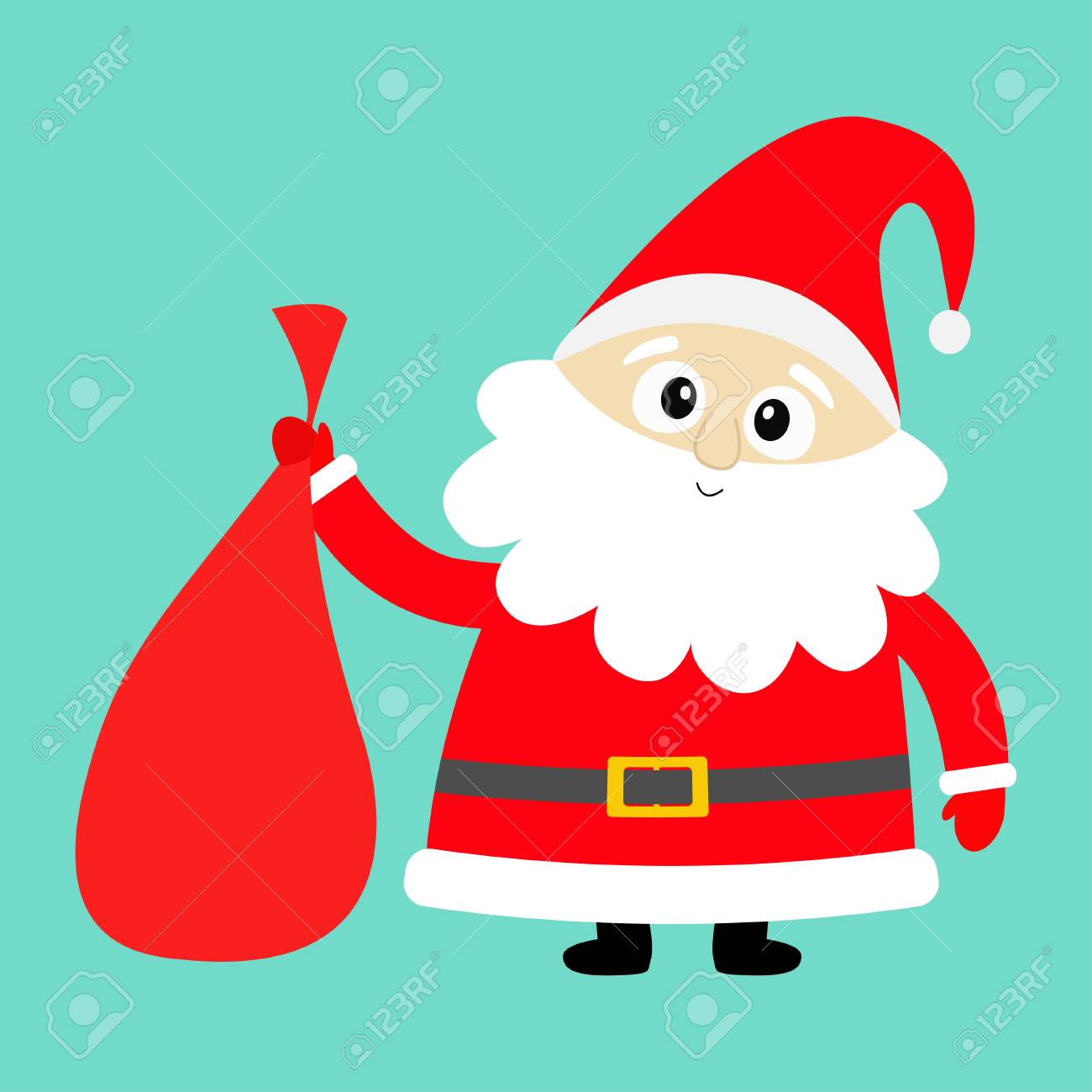 Santa Claus Holding Carrying Sack Gift Bag Red Hat Costume Royalty Free Cliparts Vectors And Stock Illustration Image 127560890