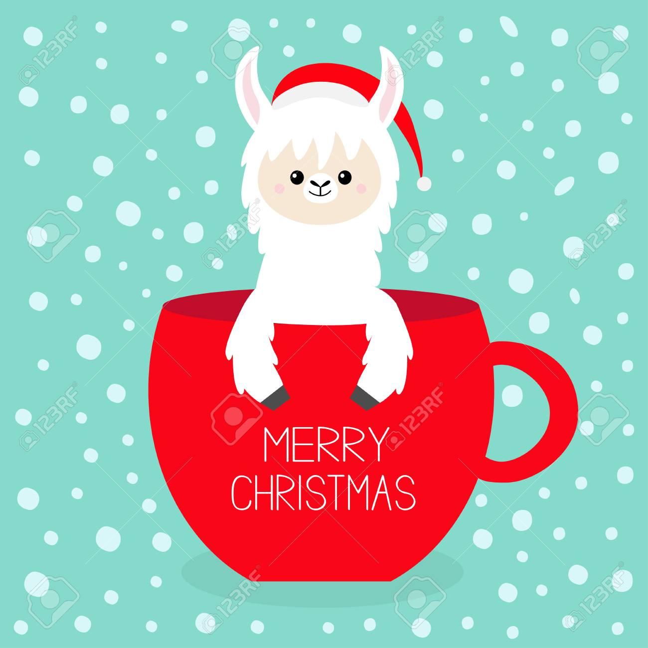 Christmas Llama.Merry Christmas Alpaca Llama Sitting In Coffee Cup Teacup Santa