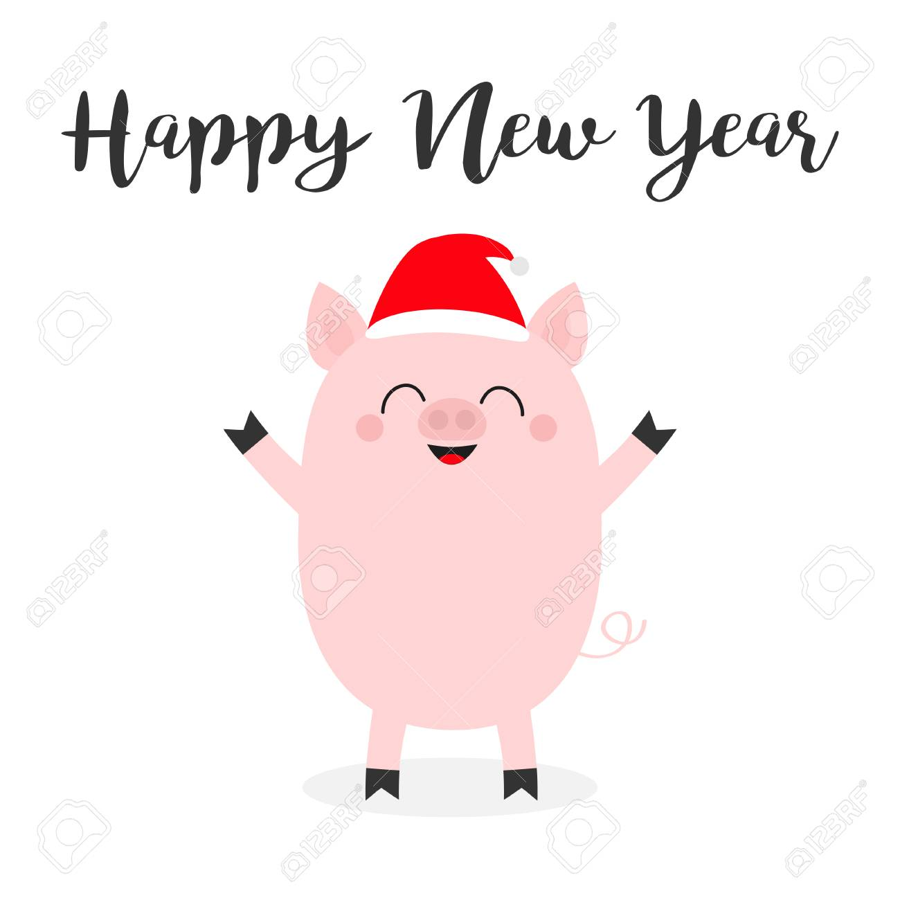 banque dimages happy new year pig piglet standing santa hat cute cartoon funny baby character chinise symbol of 2019 new year zodiac sign