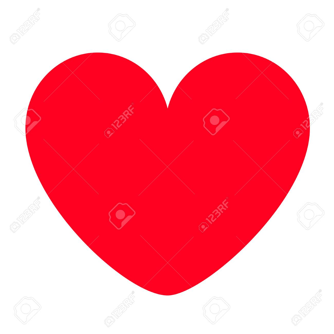 Red heart icon. Happy Valentines day sign symbol simple template. Cute graphic object. Flat design style. Love greeting card. Isolated. White background. Vector illustration - 126304129