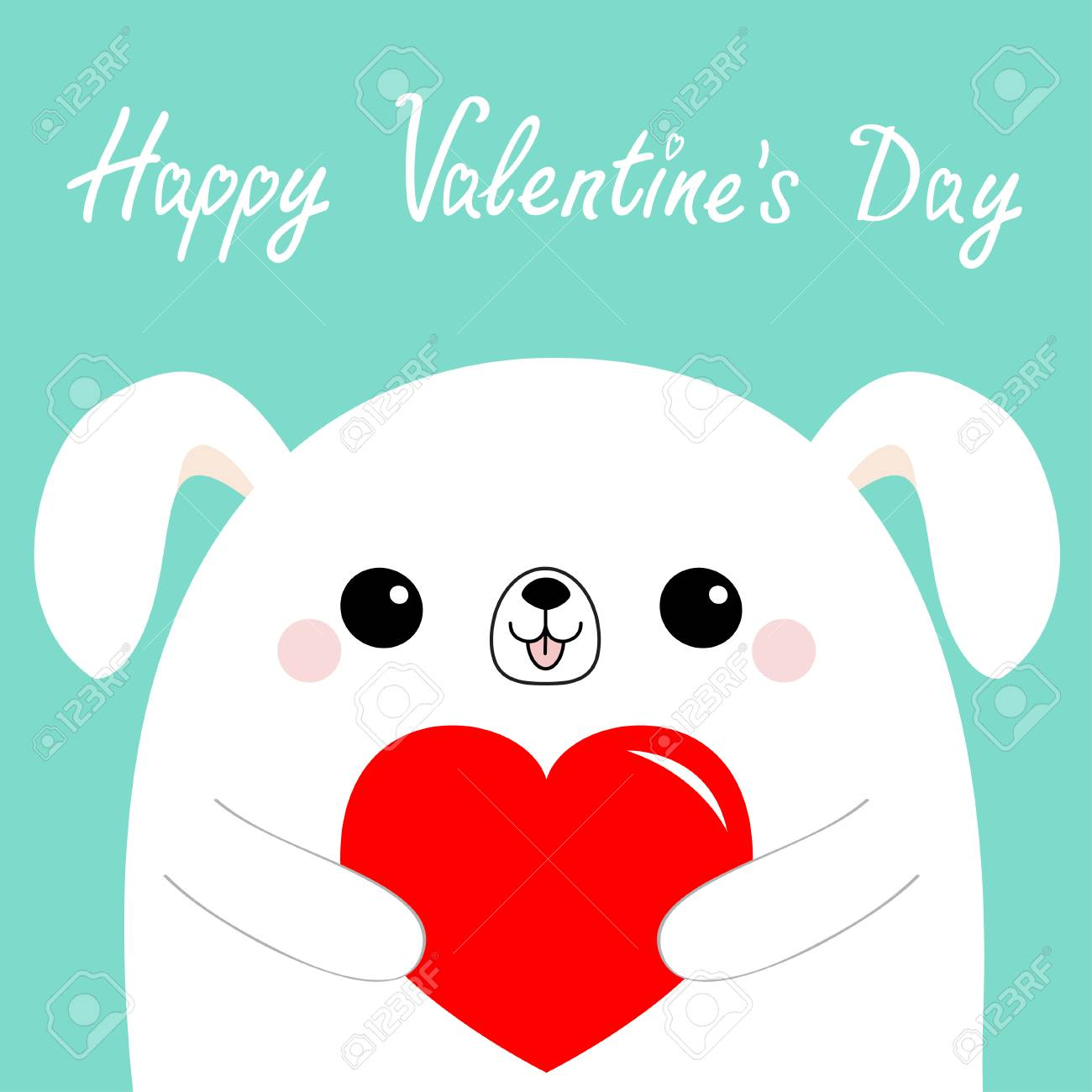Happy Valentines Day White Dog Puppy Head Face Holding Red Paper Royalty Free Cliparts Vectors And Stock Illustration Image 117068043