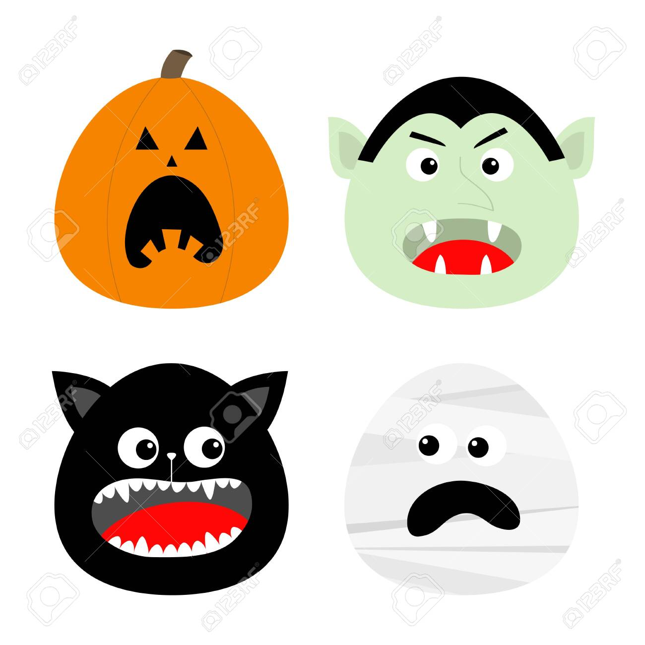 Happy Halloween icon set. Pumpkin, Vampire count Dracula, Mummy, Cat round face head. Cute cartoon funny spooky baby character. Greeting card. Flat design Orange background. Vector illustration - 132208845