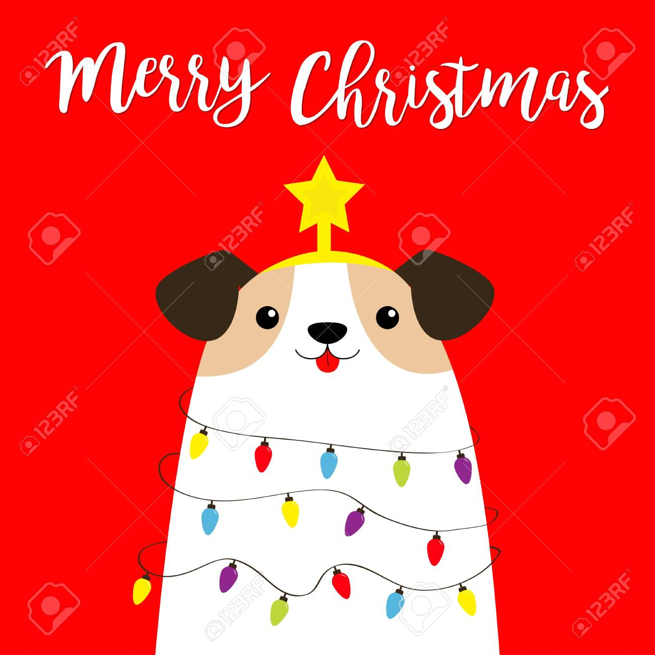 Merry Christmas Dog Fir Tree Shape Garland Lights Bulb String Royalty Free Cliparts Vectors And Stock Illustration Image 132686085
