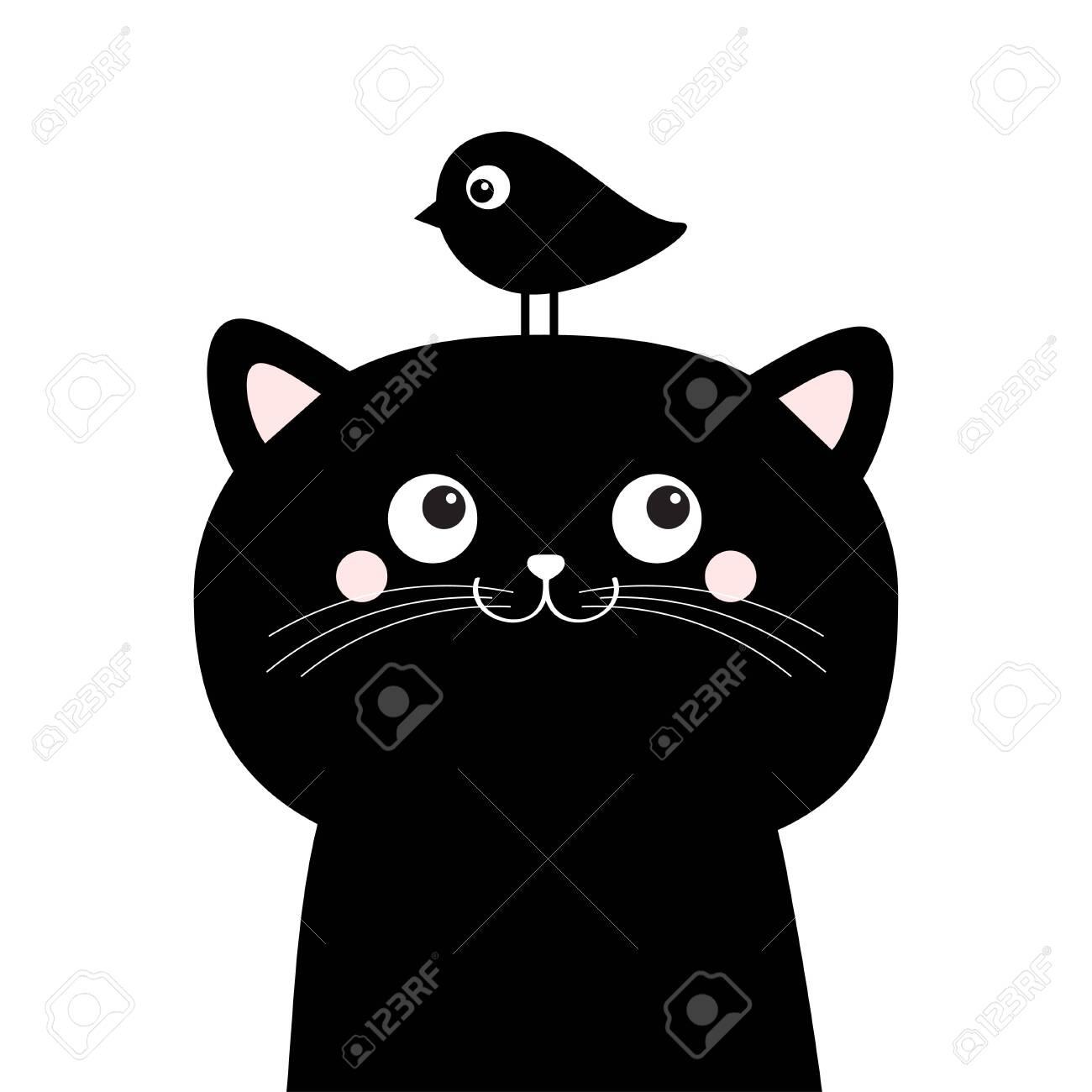 Black Cat Face Head Silhouette Looking Up To Bird Cute Cartoon