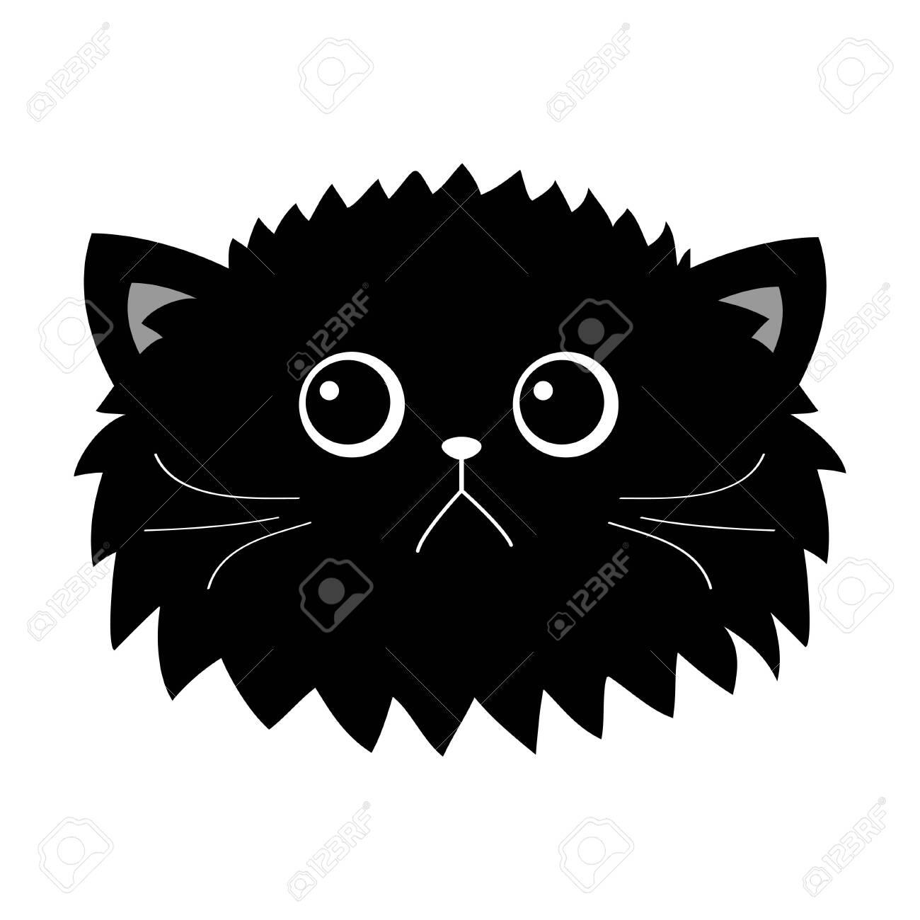 Black Cat Fluffy Head Face Icon Set Cute Funny Cartoon Character