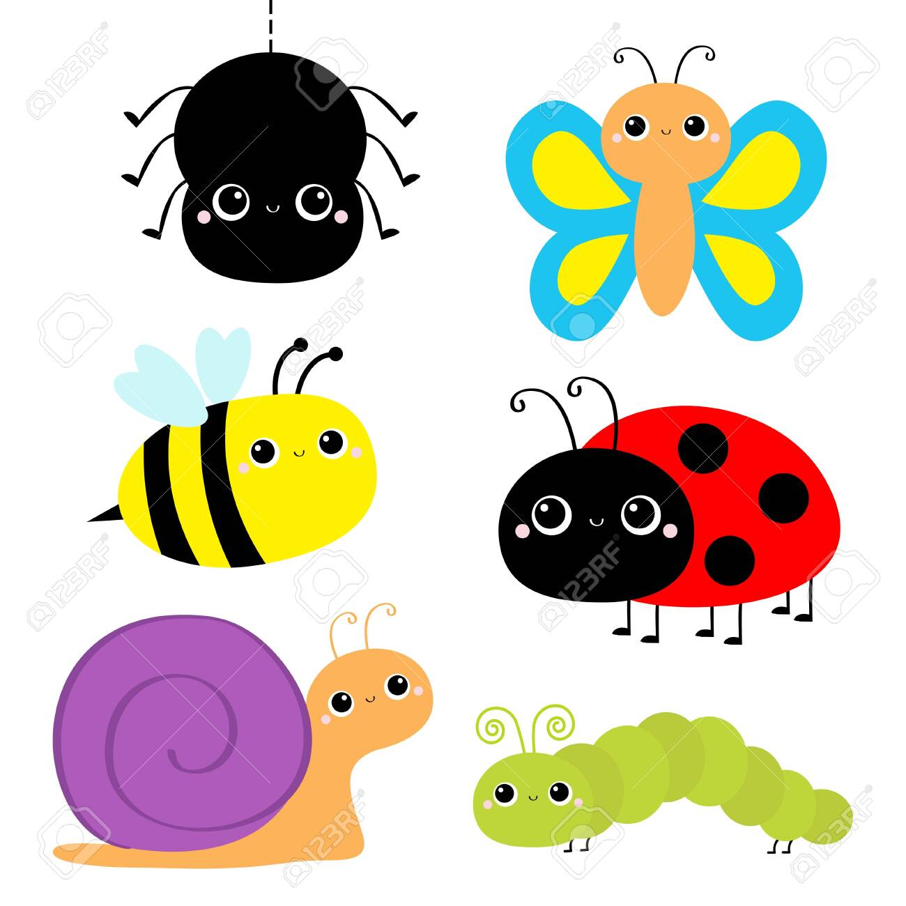 Insect Set Ladybug Ladybird Green Caterpillar Butterfly Spider Royalty Free Cliparts Vectors And Stock Illustration Image 138717446