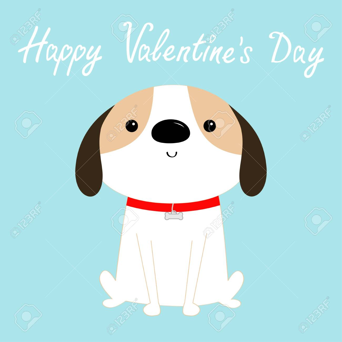 Happy Valentines Day Dog Sitting Red Collar White Puppy Pooch Royalty Free Cliparts Vectors And Stock Illustration Image 139279178