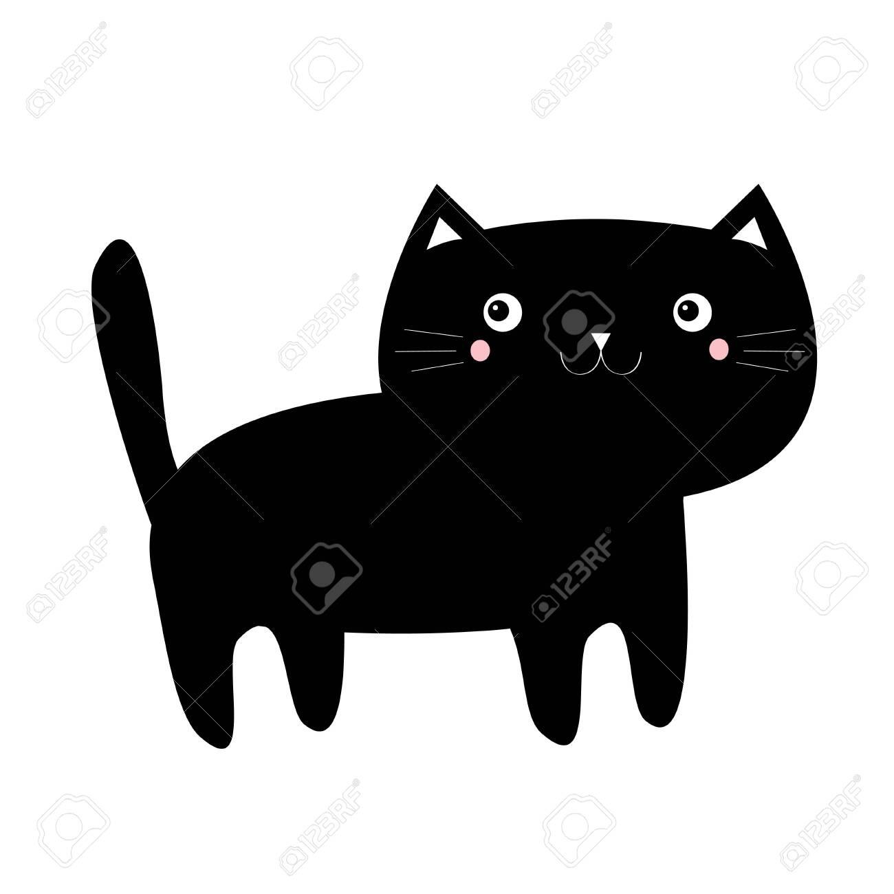 Black Cat Kitten Kitty Icon Funny Face Cute Kawaii Cartoon