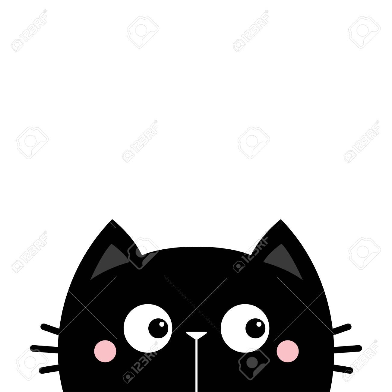 Black Cat Face Head Silhouette Look Right Side Cute Cartoon