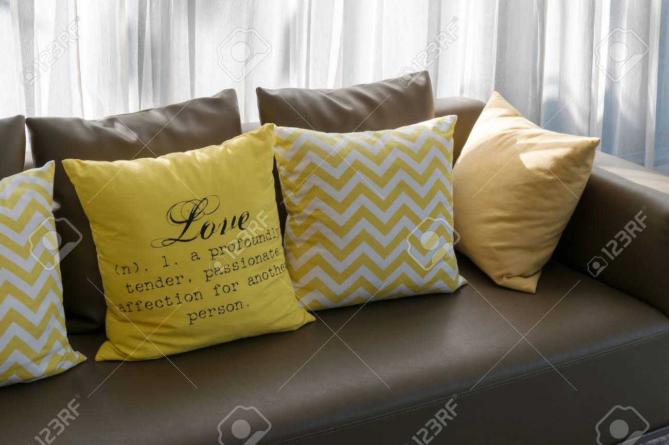 Modern Living Room Design With Brown Sofa And Yellow Pillows Stock Photo Picture And Royalty Free Image Image 40925067